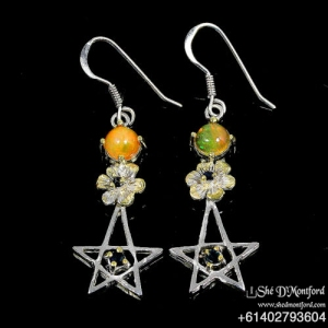 Pentagram Earrings, Natural Opal & Sapphire, Multi-Tone Gold on 925 Sterling Silver Hook