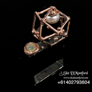 Sacred Gemotery Ring with Pearl and Opal 2
