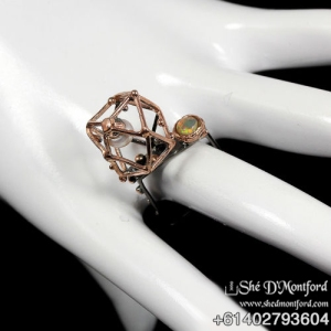 Sacred Geometry Ring Natural Pearl, Australian Opal , 18k rose Gold, Black Platinum & 925 Sterling Silver Ring Size 7.5