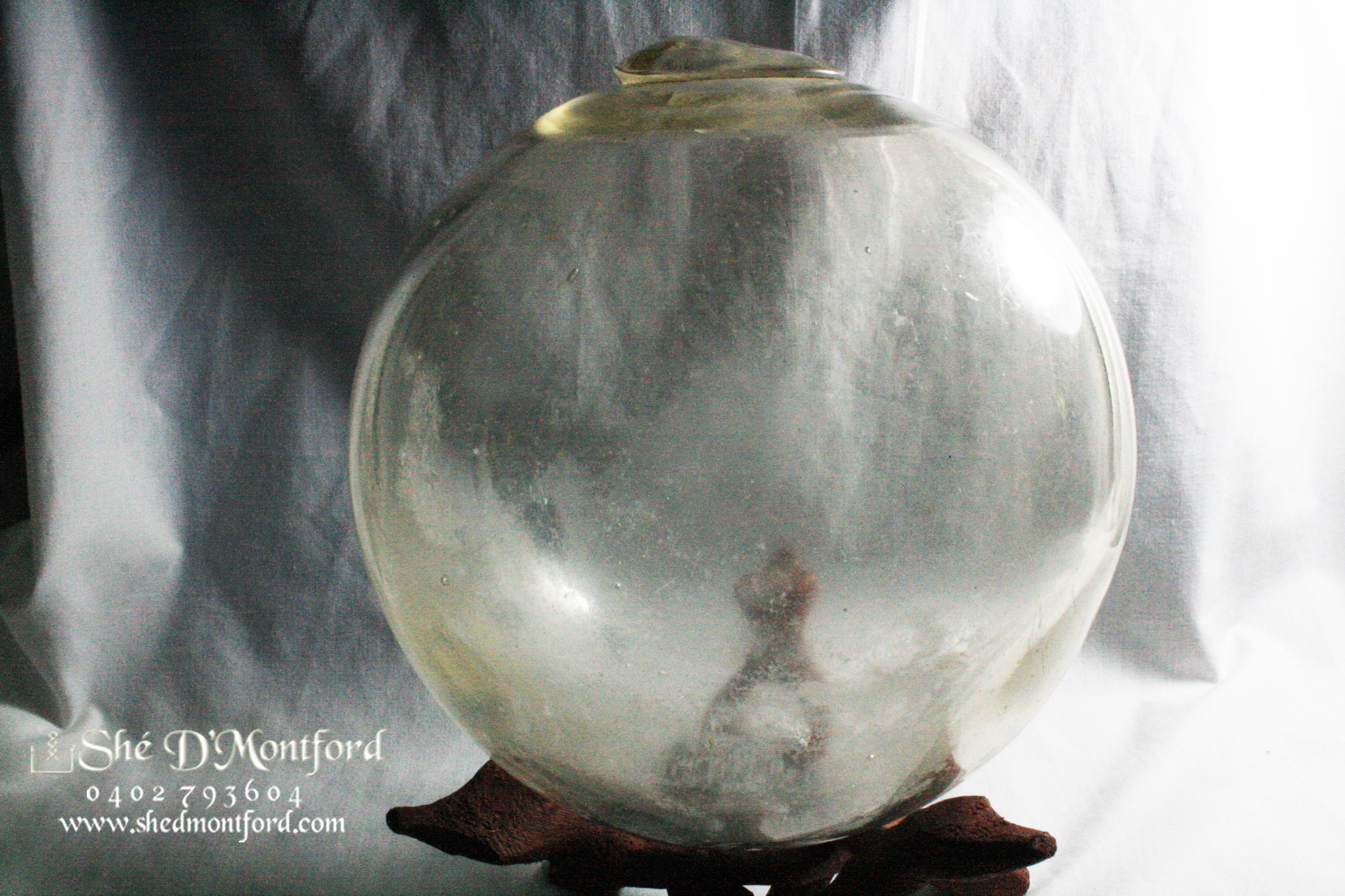 20th Century Large 20th Century Foxed Witches Ball Antique Curio Magical Witchcraft Mirror