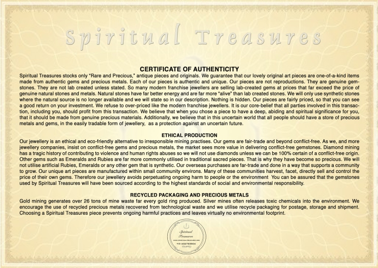 Spiritual Treasures Certificate of Authenticity